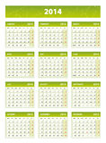 2014 green english calendar. Weeks starting from mondays Royalty Free Stock Images