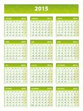2015 green english calendar Royalty Free Stock Photos