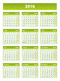 2016 green english calendar Royalty Free Stock Images