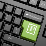 Green enter button with document on black keyboard Stock Images