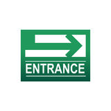 Green entrance sign Stock Photo