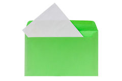 Green envelope with blank letter Stock Photography