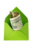 Green envelope with dollars. Royalty Free Stock Images