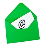 Green envelope with email symbol Royalty Free Stock Image