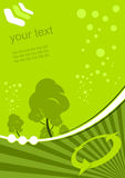 Green environment background. Vector illustration of green trees and recycle arrows with a space for text Stock Photography