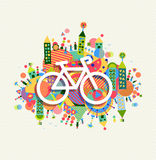 Green environment bike icon vibrant colors poster vector illustration