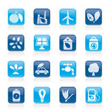 Green, Environment and ecology Icons Royalty Free Stock Image