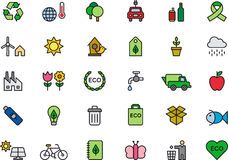 Green environment or ecology icons Royalty Free Stock Images