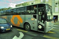 Green, environment friendly bus Stock Photos