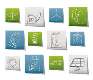 Green and Environment Icons Stock Photography
