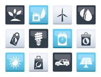 Green and Environment Icons over color background. Vector icon set royalty free illustration