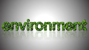 Green environment illustration. Illustration of a green environment with text 'environment' with each uppercase letter decorated in shades of green, silver gray Stock Photos