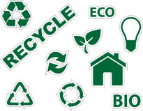 Green environment and recycle icons Stock Image