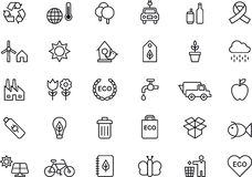 Green Environment & Recycling icons Stock Images