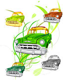 Green Environmental Car. Green Environment-friendly car with recycle symbol and vine background vector illustration