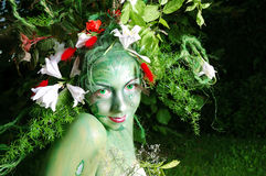 Green environmental face painting Royalty Free Stock Photo