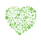 Green environmental heart Royalty Free Stock Photos