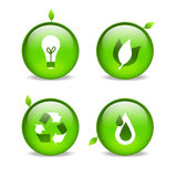 Green environmental web icons with leaf detailing. Green ecological style icons depicting power, nature, recycling & water Royalty Free Stock Photo