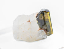 Green epidote crystal Royalty Free Stock Image