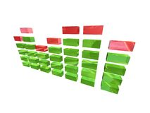 Green eq. Eq with green and red blocks Stock Photo
