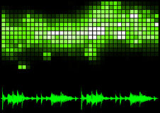 Green Equalizer and Sound Curve Royalty Free Stock Image
