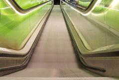 Green escalator Royalty Free Stock Photography