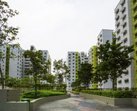 Green Estate. A park leading to a green estate in Singapore Stock Photos