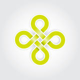Green eternal knot concept. In editable vector format Royalty Free Stock Images