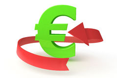 Green euro with arrow Royalty Free Stock Photo