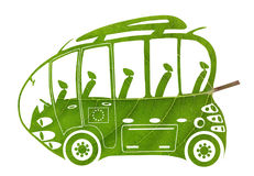 Green Euro bus Stock Images