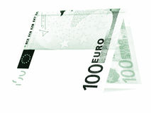 Green euro folded in half, money hut, currency angle isolated Stock Images