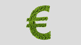 Green Euro money, currency sign, made from leaves (Included alpha) stock footage