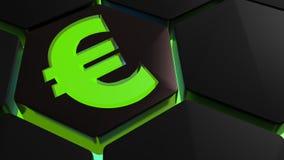 Green Euro symbol on hexagon - 3D rendering. A green euro symbol is on a 3D hexagonal shape with green backlight - 3D rendering illustration Stock Image