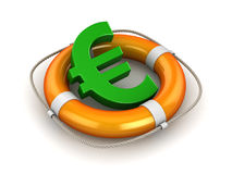 Green Euro Symbol in Lifebuoy. This is a 3d Rendered Computer Generated Image.  on White Stock Photo