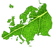 Green Europe. Macro of a green leaf cut out in the shape of Europe Royalty Free Stock Photos