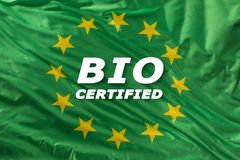Green european union flag as a mark of organic bio food or ecology royalty free stock photos