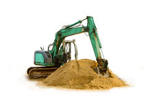Green excavator on white isolated background with clipping path. Stock Images