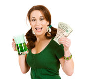 Green: Excited Woman with Handful of Cash Royalty Free Stock Images