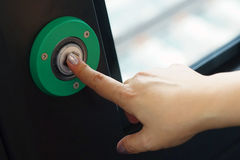 Green exit button. Royalty Free Stock Photo