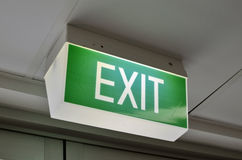 A green exit sign. A close up of an Australian green exit sign on a 3/4 angle Royalty Free Stock Images