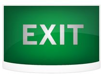 Green exit sign Stock Photo