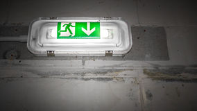 Green exit sign Stock Images