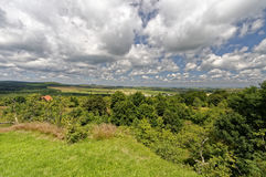 Green expanses under a sky with thick clouds Stock Image