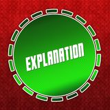 Green EXPLANATION badge on red pattern background. Royalty Free Stock Photos