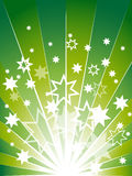 Green explosion background with many stars stock image