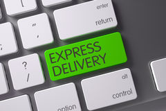 Green Express Delivery Keypad on Keyboard. 3D Illustration. Concept of Express Delivery, with Express Delivery on Green Enter Button on White Keyboard. 3D Royalty Free Stock Image