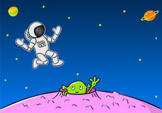 Green extraterrestrial waving to an astronaut Royalty Free Stock Photos