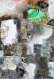Green Eye. Abstract Painting. Green human eye, random letters Stock Photography