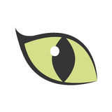 Green eye big cat glowing icon. Illustration eps 10 Stock Photos