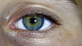 Green eye close up stock footage